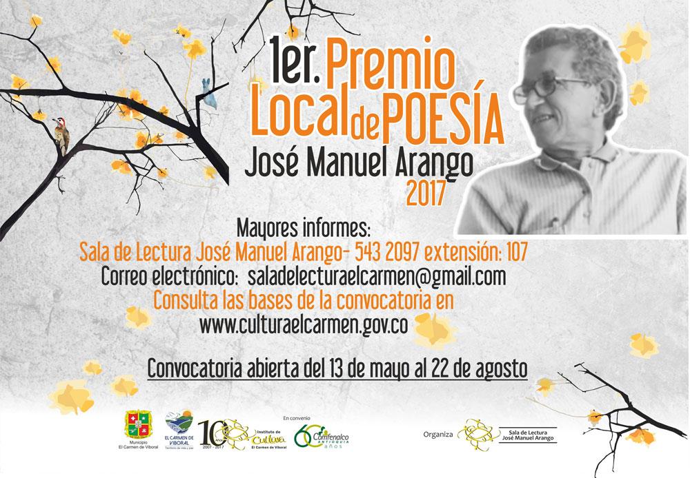 Premio poesía local en El Carmen de Viboral