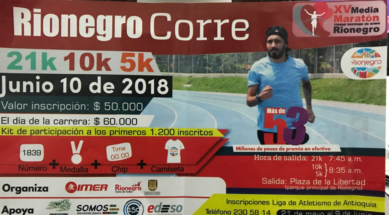 Este 10 de junio 5 Media Maratón Rionegro